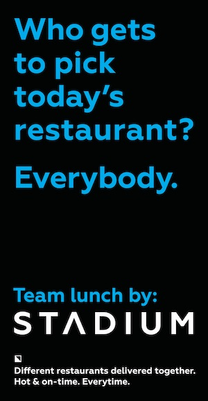 Who gets to pick today's restaurant? Everybody. Team lunch by Stadium. Different restuarants, delivered today. Hot & on time. Every time.